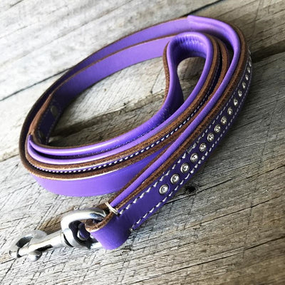 "Dog Leash - ""Shimmer"" Swarovski Purple Single Row"