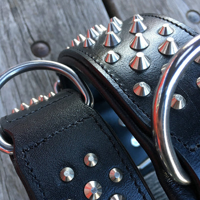 "Black Leather Dog Collar - Rogue ""RuffNeck"" Studded Collar"