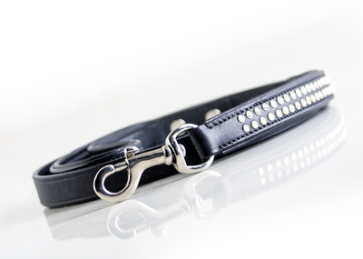 "Dog Leash - ""Shimmer"" Swarovski Black Double Row"