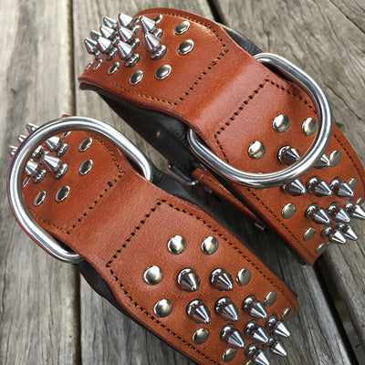 "Dog Collars - Spiked Leather Dog Collars ""Gladiator"" Brown"