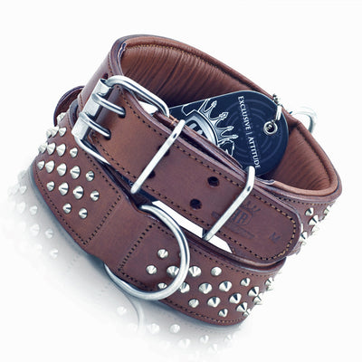 Handmade Brown Leather Studded Dog Collars