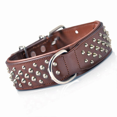 Handmade Brown Leather Studded Dog Collar