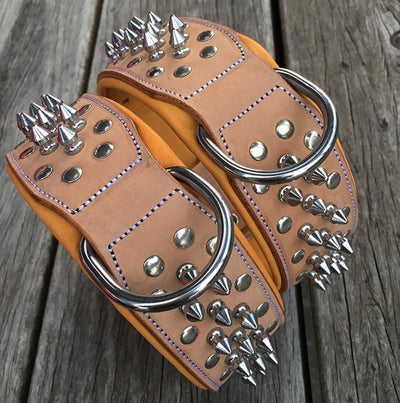 "Dog Collars - Spiked Leather Dog Collars ""Gladiator"" Buckskin"