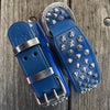 Dog Collar - Imperial Blue Diamond (Flat Cone Studs & Blue Lining)