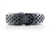 Dog Collar - Ruthless Grey/Black (flat studs)