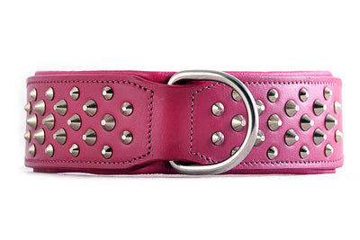 "Pink Leather Dog Collar - Rogue ""RuffNeck"" Studded Collar"
