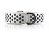 Dog Collar - Ruthless White/Black (flat studs)