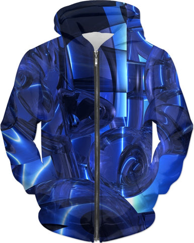 Blue Dreamscape Abstract Hoodie