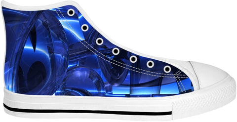 Blue Dreamscape Abstract Shoes -white-