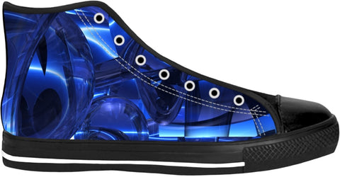 Blue Dreamscape Abstract High Tops -Black-