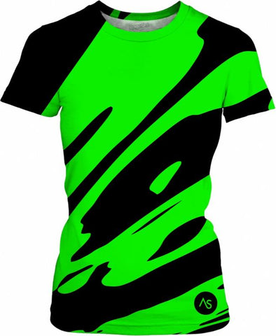 Lime Blacklight UV Reactive Women's Cut T-shirt