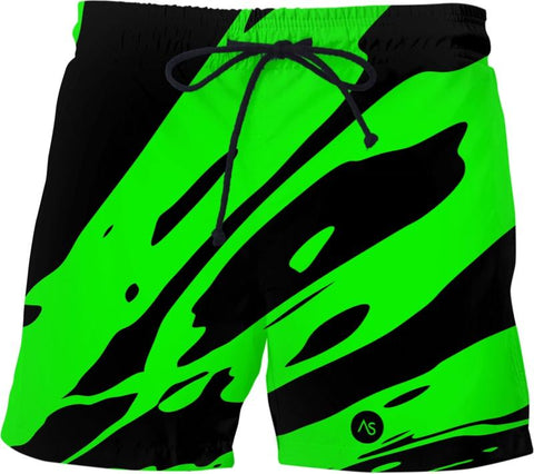Lime Blacklight UV Reactive Swim Shorts