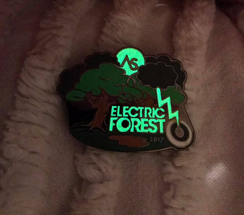 "Electric Forest ""Mudfest"" 2017 Glow in the dark pin"