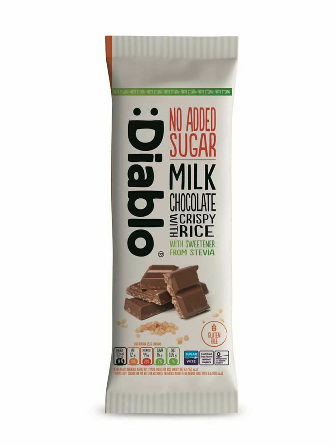 No Added Sugar Gluten Free Crispy Rice Milk Chocolate With Stevia 75g