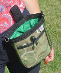 Multi-Use Bag Dog Treat Bag Pouch Forest Green With Camo Pattern