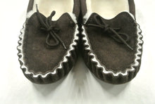 Load image into Gallery viewer, Genuine Sheepskin Moccasin Slippers In Dark Brown Unisex Made In The UK Sizes 3-12
