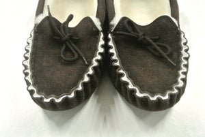 Genuine Sheepskin Moccasin Slippers In Dark Brown Unisex Made In The UK Sizes 3-12