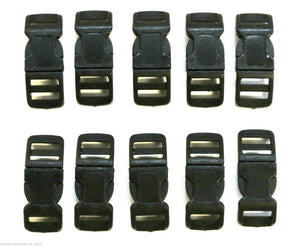 13mm Black Nylon Curved Side-Release Buckles For Collars Straps Bags