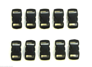 10mm Black Plastic Curved Side-Release Buckles For Collars Bags Straps