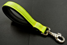 "Load image into Gallery viewer, 10"" Fluorescent Yellow Short Close Control Lead With Padded Handle"