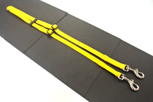 Adjustable 2 way dog lead coupler splitter in yellow