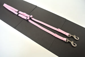 Adjustable 2 way dog lead coupler splitter in baby pink