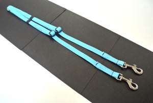 Adjustable 2 way dog lead coupler splitter in sky blue