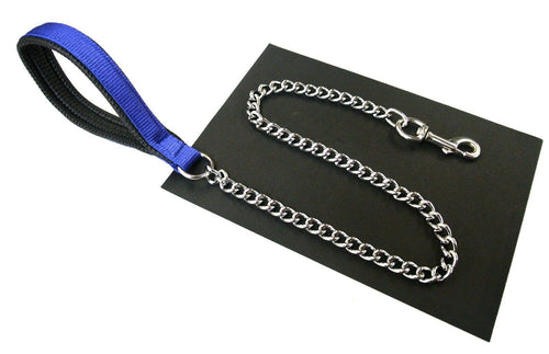 Royal Blue Padded Handle Dog Lead With Chrome Plated Chain