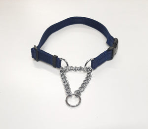 Half Check Chain Dog Collars Small Large Adjustable With Chrome Plated Chain In Various Colours