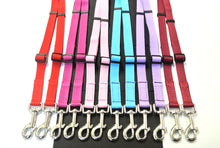 Load image into Gallery viewer, Adjustable 2 way dog lead coupler splitter 20mm webbing in various colours