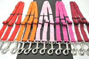 Adjustable 3 way triple dog lead coupler splitter in 20mm webbing in various colours