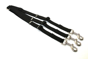 Adjustable 3 way triple dog lead coupler splitter in 20mm webbing in black