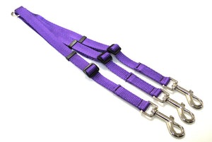 20mm Adjustable 3 Way Coupler Splitter Dog Leads Leash Strong Durable Webbing In 20 Various Colours