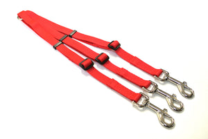 Adjustable 3 way triple dog lead coupler splitter in 20mm webbing in red