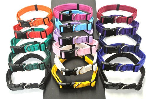 Adjustable dog collars small medium and large in various collars