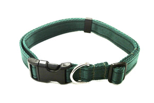 Adjustable dog collars small medium and large in forest green