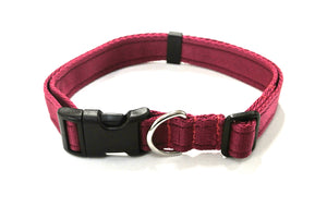 Adjustable dog collars small medium and large in burgundy
