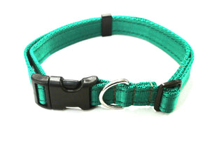 Adjustable dog collars small medium and large in emerald green