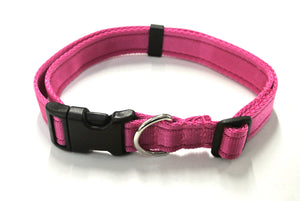 Adjustable dog collars small medium and large in cerise
