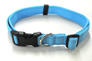 Adjustable dog collars small medium and large in sky blue