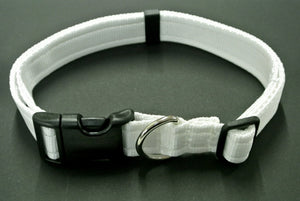 Adjustable dog collars small medium and large in white