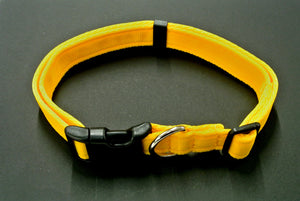 Adjustable dog collars small medium and large in yellow