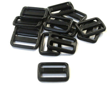 Load image into Gallery viewer, 25mm Black Plastic 3 Bar Slides Triglides For Handles Straps Webbing Bags Crafts