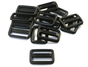 25mm Black Plastic 3 Bar Slides Triglides For Handles Straps Webbing Bags Crafts
