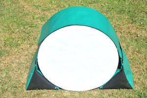 Dog agility tunnel sandbags in green and black