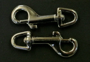 6mm Trigger Clips/Hooks Nickel Plated For Dog Leads Webbing Bags Straps In Various Lengths