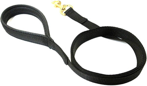 "Black 76"" Short Dog Lead With Solid Brass Trigger Clip"