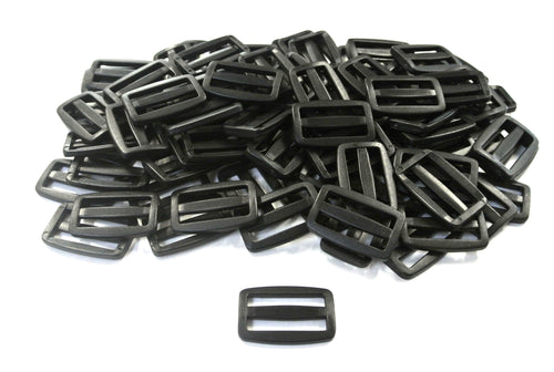 38/40mm Black Plastic 3 Bar Slides Triglides For Handles Straps Webbing Bags Crafts