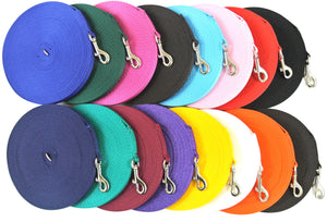 30ft Dog And Puppy Training Lead 13mm Webbing In Various Colours