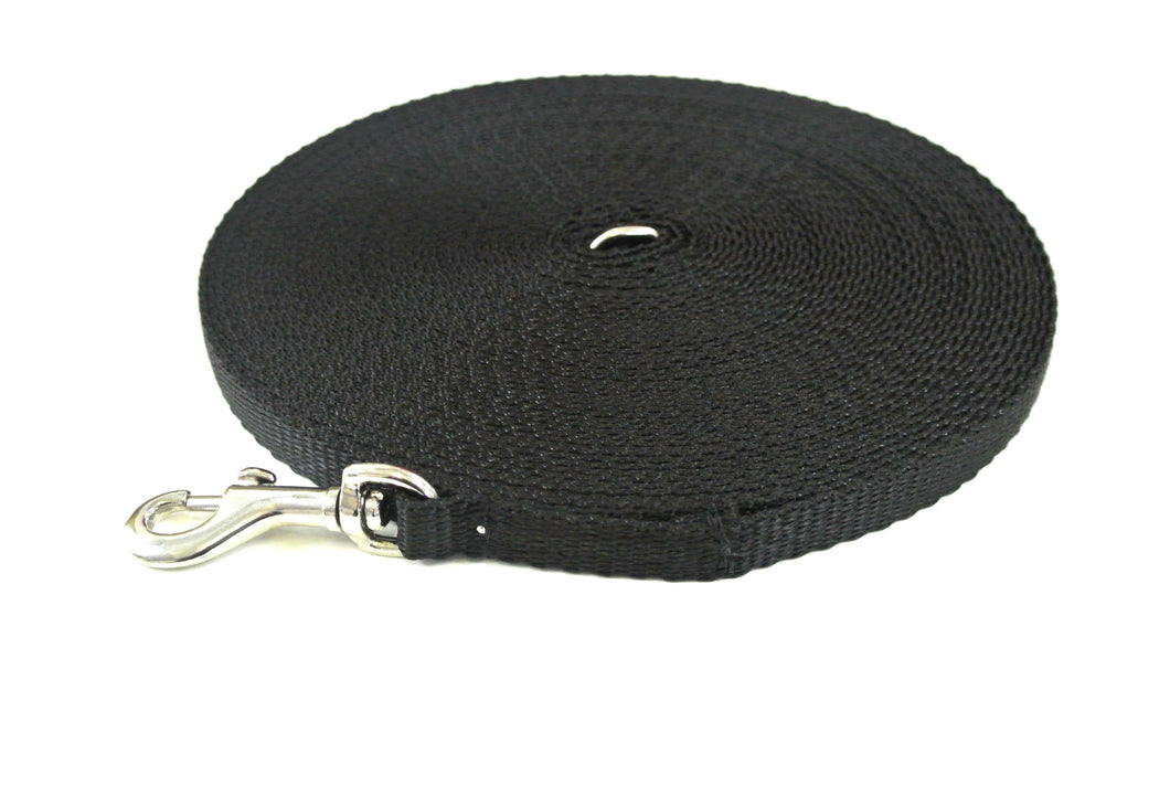 30ft Dog And Puppy Training Lead 13mm Webbing In Black